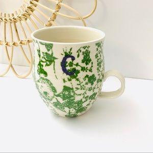 Anthropology   Homegrown Green Floral C Mug